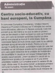 Centru socio-educativ cu bani europeni la Cumpana
